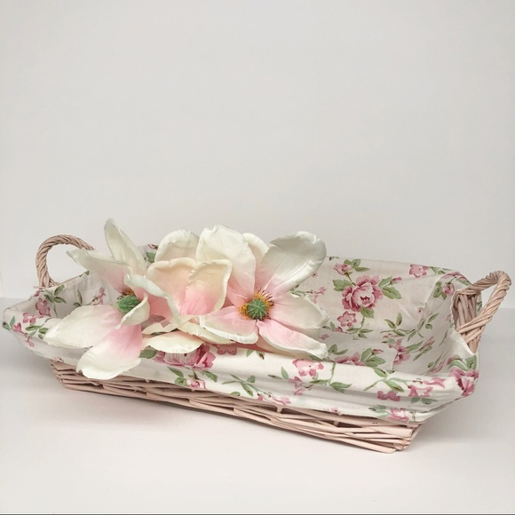 Vintage Shabby Chic Rectangle Pink Wicker Basket